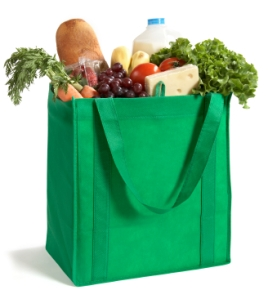 tote with fresh produce